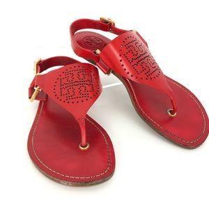 Tory Burch Daniela Red Perforated Logo Sandal 6
